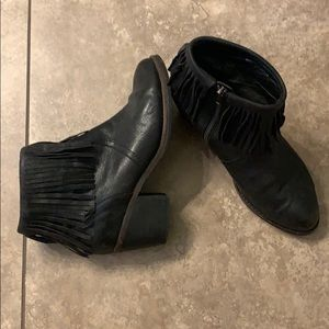 Free People Farylrobin black fringe booties.  7.5